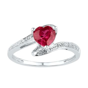Sterling Silver Womens Heart Lab-Created Ruby Solitaire Diamond Ring 1.00 Cttw