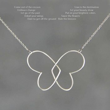 Sterling silver heart butterfly pendant Kentucky necklace Free US Shipping handmade Anni Designss