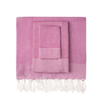 Fuchsia Honeycomb Turkish Peshtemal Towel