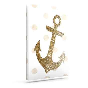 "Nika Martinez ""Glitter Anchor"" Gold Sparkles Canvas Art"