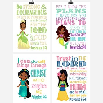 African American Princess Set of 4 - Christian Nursery Decor Wall Art Print - Jasmine, Mulan, Ariel and Tiana - Bible Verse - Multiple Sizes