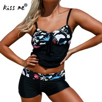 2 Pieces Bikini 2017 Plus Size Swimwear Female Black Floral Swimsuit Women With Shorts Tankini Set Bathing Suit Beach Wear 3xl