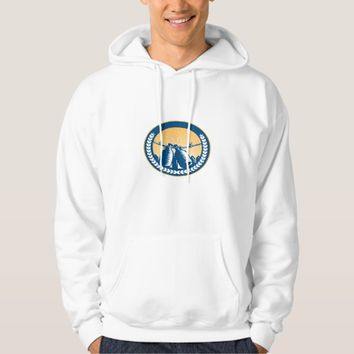 Growler Hanging Clothesline Fence Circle Woodcut Hoodie