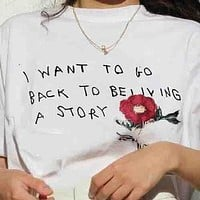 Gucci Embroidery Flower Letters Rose red Women Men Tee Shirt Top   White