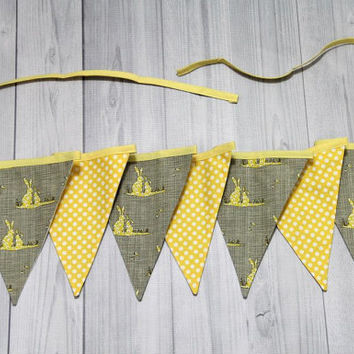 bunnies/dark gray and yellow with dots 7 Pennant Banner. Bunting flags. Easter. Photo Prop. Home Decor
