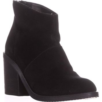 Steve Madden Shrines Block Heel Ankle Booties, Black Suede, 8 US