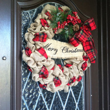 Merry Christmas Wreath, Christmas Wreath, Burlap Christmas Wreath, Holiday Wreath, Burlap Christmas wreath, Plaid Ribbon-BACK IN STOCK!!!