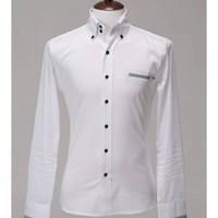 Men New Style Lattice Mock Pocket Color Matching Slim Long Sleeve White Cotton Shirt M/L/XL@137P45w $18.66 only in eFexcity.com.