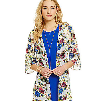 Skies Are Blue Floral-Print Kimono Jacket - Blue/Pink/Floral