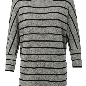 Womens Comfortable Loose 3/4 Dolman Sleeve Knit Tunic Top