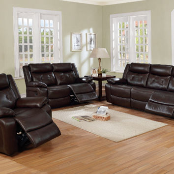 Poundex F6464-65 2 pc Bernice II chocolate genuine leather match sofa and love seat set with reclining ends