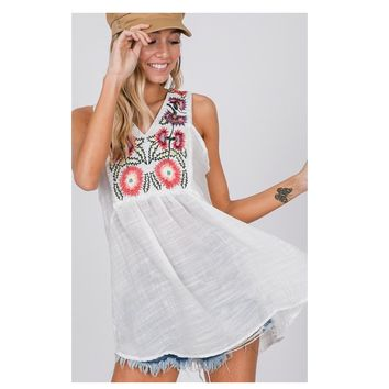 Adorable Me, Embroidered Ivory Sleeveless Babydoll