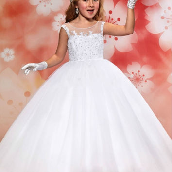 Princess White Ball Gown Flower Girl Dresses for Weddings Lovely Girls Pageant Dresses First Communion Dresses for Girls