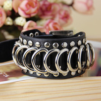 Leather bracelet with Rivets and Rings