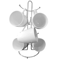 Evelots Metal Cup & Mug Rack Holder, Kitchen Accessories, Holds 6 Cups, Silver