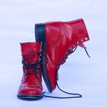 Vintage 80's Red Justin Junior Roper Boots In Lace Up Red Leather with Kilties Size 5 1/2 D US 7.5-8 Size UK 5-5.5 Eur-38-38.5