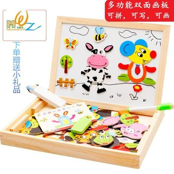 educational toys magnetic jigsaw puzzle wooden box farm animal forest the Chinese zodiac shape drawing board multifunctional box