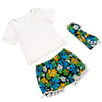 Little girls Boutique ,Flower girls clothing set ,Pom Baby Top Short matching headband set ,summer toddler outfit for girls-in Clothing Sets from Mother & Kids on Aliexpress.com | Alibaba Group