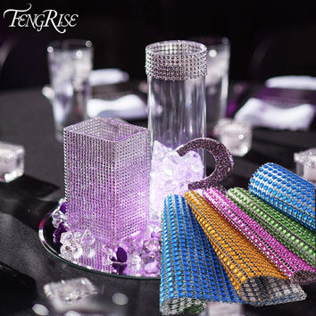 FENGRISE 91.5cm 1 lot Rhinestone Chain Diamond Mesh Trim Wedding Decoration Bling Wrap Party Ribbon DIY Crafts For Vase Supplies