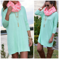 Heaven's Bliss Mint Quarter Sleeve Solid Dress