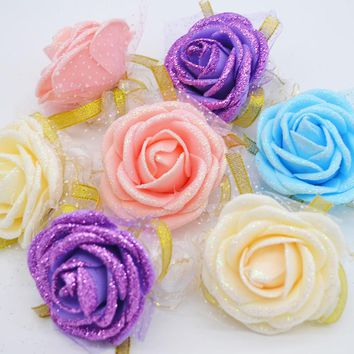 3Pcs 5cm Rose Wrist Corsage Bridesmaid Sisters Hand Flowers Artificial Bride Flowers For Wedding Party Decoration Bridal Prom
