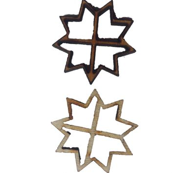 Miniature Windows Snowflake Shape : Fairy Garden Accessories / Wooden Accessory Dolls House