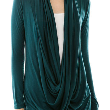 Teal Dreamy Draped Front Top