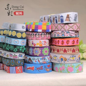 "10yards* 5/8""(15mm),7/8""(22mm) Woven Jacquard Cartoon Ribbon Webbing Handmade DIY Sewing Supplies Pet Dog Collar Accessories"