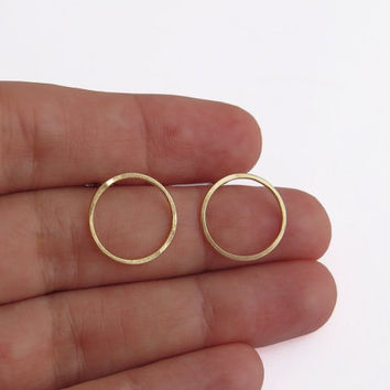 14k Gold Circle Earrings - Small Hoop Studs - Delicate Solid Gold Jewelry
