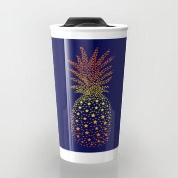 Golden Pineapple Stars Travel Mug by ES Creative Designs