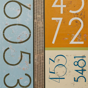 Colorful Blue and Orange Mid Century Modern Abstract Typography Wall Art