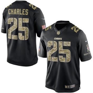 Men's Kansas City Chiefs Jamaal Charles Nike Black Salute To Service Jersey