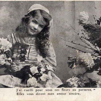 French antique postcards little girl 416  Ephemera for scrapbook, collage, decoupage, craft.