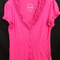 INC Hot Pink Size Large Ruffled Flower Neck 12-14