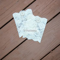 Champagne Lace & Button Boot Cuffs, Holiday Boot Topper Stocking Stuffer
