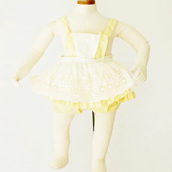 1950s Toddler Girl Yellow Bathing Suit by SalvatoCollection