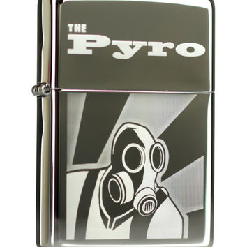 The Pyro Team Fortress 2 Etched Chrome Zippo Lighter