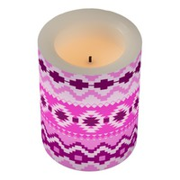 Aztec Pattern, Pink Flameless Candle