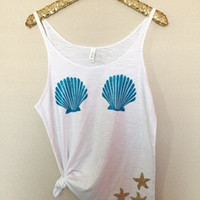 Mermaid Bra Tank - Aqua - Slouchy Relaxed Fit Tank - Ruffles with Love - Fashion Tee - Graphic Tee