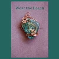 Medium Abalone Pendant with Copper Wire Wrap