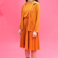 60s Orange Color Block Dress Set / Small