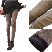 cut pocket jeans slim plaid sports trousers skinny pencil pants female trousers S-XXXL
