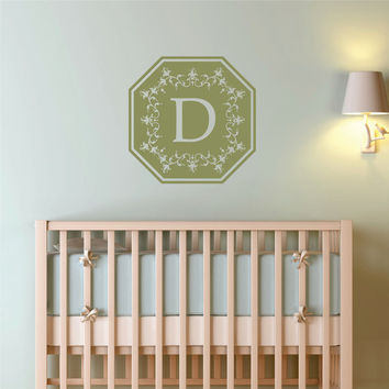 Personalized Monogram with Initial Wall Decal Art Nursery Monogram