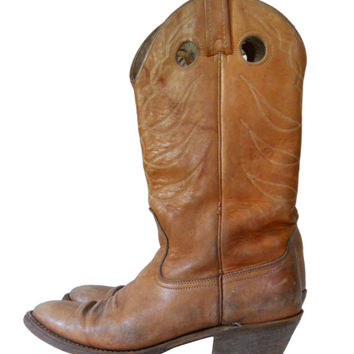 Cowboy Boot Men 8.5 Brown Cowboy Boot Country Western Boot Retro Boot Brown Leather Boot Distressed Boot Men Tall Boot Tan Boot Retro Boot