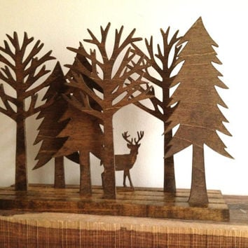 Wood Forest Sculpture with Deer Tree Sculpture Art Rustic Home Decor Animal Sculpture