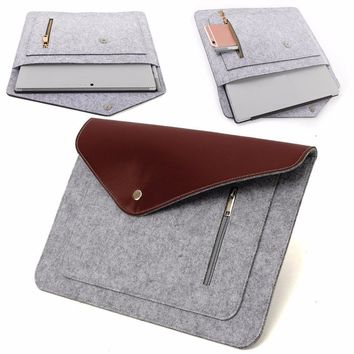 Wool Leather Laptop Notebook Sleeve Case For Apple MacBook Pro 13 Inch 13.3 Inch