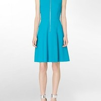 calvin klein womens exposed zip detail fit + flare sleeveless dress