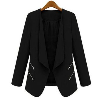 DCCKJG2 New Women OL Long Sleeve Slim Lapel Blazer Suits Jackets Casual Open Coats Blazers Outwear Terno 3 Colors
