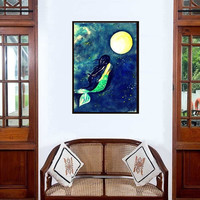 Moon Mermaid painting | Blue Decor wall art | Siren bedroom illustration | Women figurative abstract tail tropical Sea room men gift decal