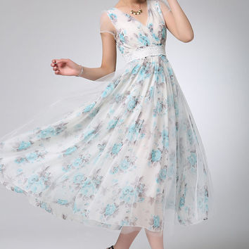 Prom dress maxi flower chiffon dress party dress